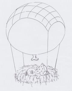 Nestling-Luftballon-Skizze